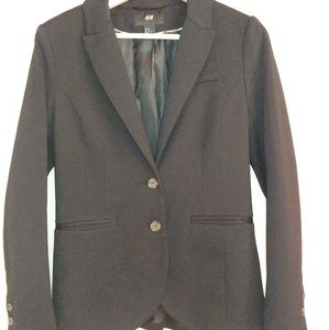 H&M Button Blazer Fitted Black Lined 10